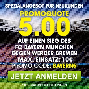 williamhill promo - William Hill - 5.00 Quote auf Bayern Sieg